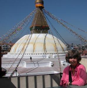Susan in Boudhanath (Devanagari, Nepali: बौद्धनाथ) near Kathmandu